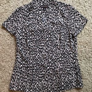 Dana Buchman cap-sleeve animal print blouse